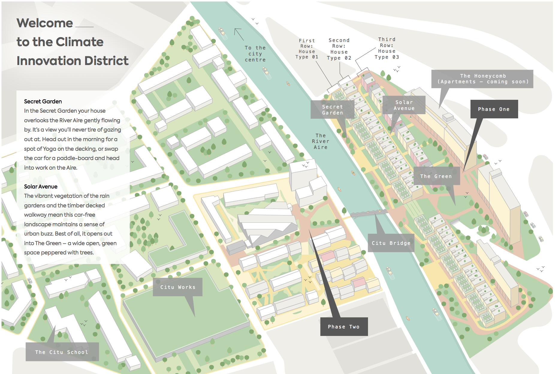 Site map of the Climate Innovation District from the Citu sales brochure