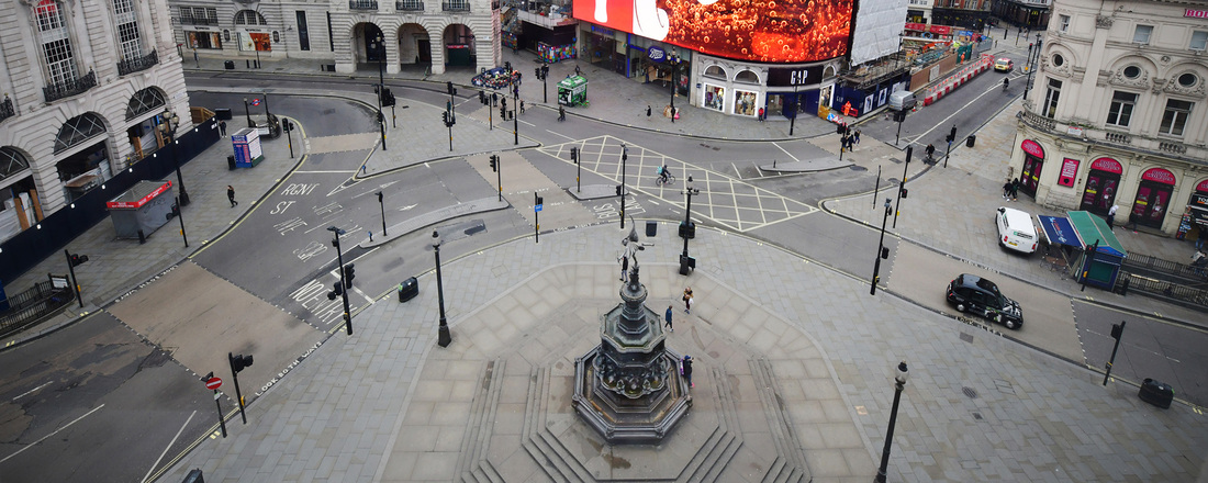 An unusually quiet Piccadilly Circus. Getty Images