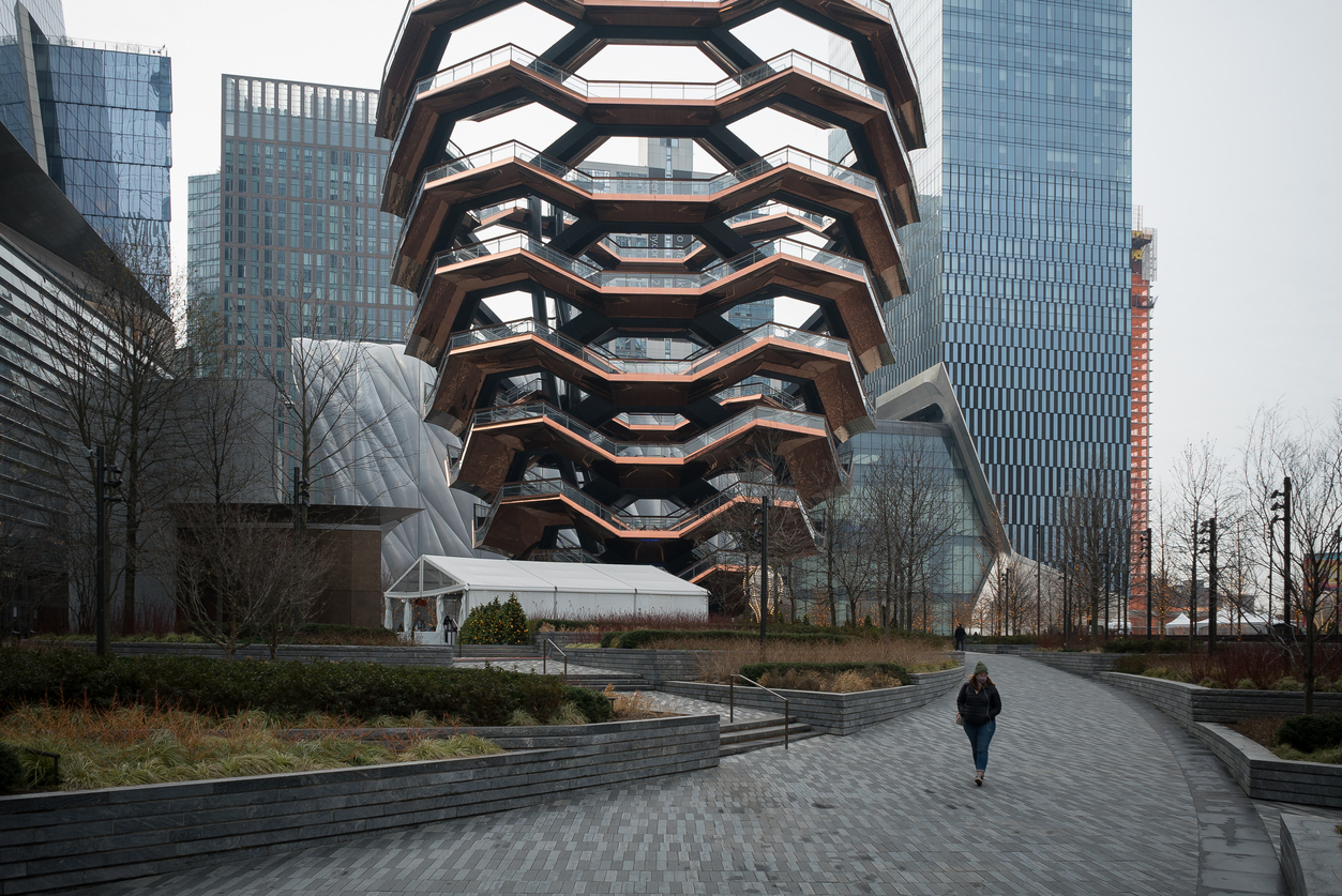 A lone visitor to Hudson Yards in January 2021. Massimo Giachetti/Getty Images